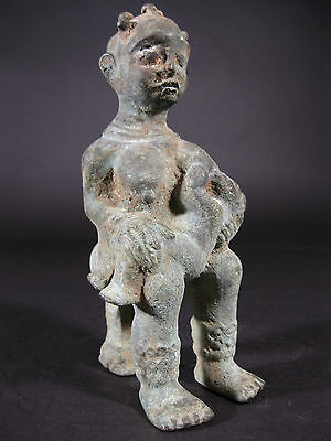Very Fine Bronze Seated Maternity Figure Cross River Niger Delta