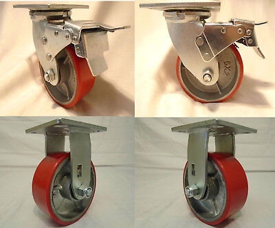 "4"" x 2"" Swivel Caster Polyurethane Wheel w/ Brake(2) Rigid (2) 700lb ea Tool Box"