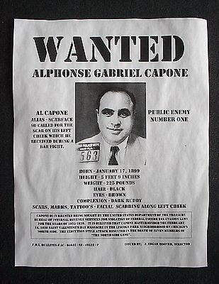 """(869) GANGSTER AL CAPONE WANTED SCARFACE PRISON PUBLIC ENEMY FBI POSTER 11""""x14"""""""