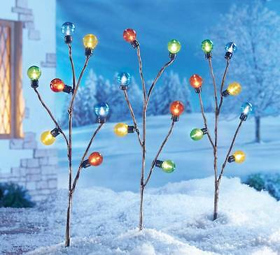 Colorful Lighted Holiday Bulbs Yard Stakes Outdoor Christmas Decoration 3-PC Set