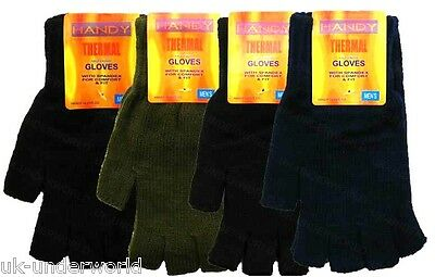 Adults Mens Plain Thermal Fingerless Knitted Winter Warm Half Finger Gloves