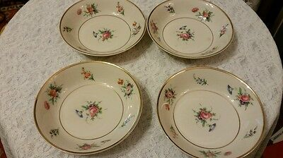 Syracuse Old Ivory set of 4  floral 5 inch berry bowls