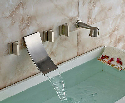 New Brass Hand Shower Brushed Nickel Bath Wall Mount5 pcs Waterfall Tub Faucet