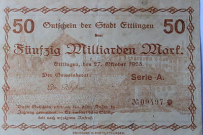 German Weimar Republic banknote, 50 billion marks, 1923