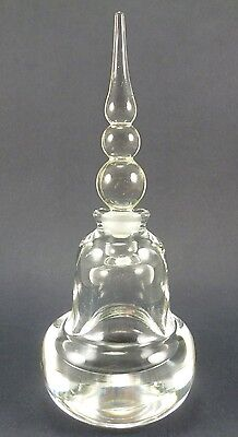 """Vintage Clear Heavy Glass Perfume & Unique Stopper 7 1/2"""" Tall"""