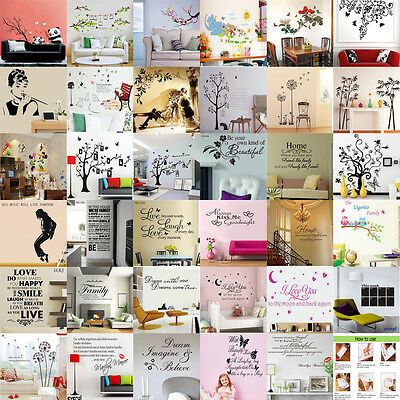 DIY Removable Art Vinyl Quote Flower Wall Stickers Decal Mural Home Kids Decor