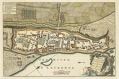 1759 Plan of the Town and Fortification of Montreal or Ville Marie in Canada.