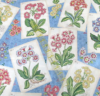 """Waverly Home Decor cotton fabric BLUE flower packet Country Weekend 3/4 yard 27"""""""