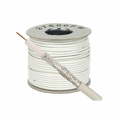White Satellite Cable 100m For Sky Freesat Freeview Saorview Saorsat RG6 HD