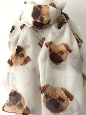 Pug Scarf Cream Beige Brown Dogs Sarong Pugs Dog Print Wrap Ladies Scarf New