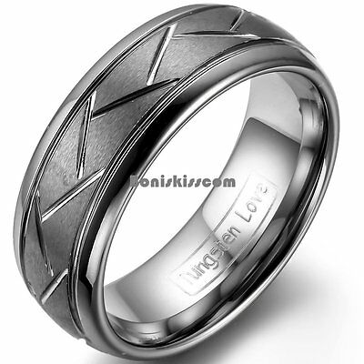 8mm Matte Tungsten Carbide Ring Dark Gray Zig Zag Grooves Mens Dome Wedding Band