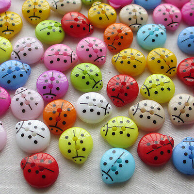 100/500PCS 13mm Cute Ladyburg Ladybird Buttons Plastic Sewing Kid's  Mix Lots