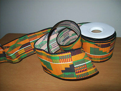 Kente wired ribbon 2.5 inch African wired ribbon sold by the spool 10 yards
