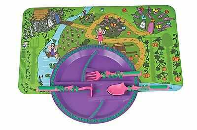Constructive Eating Garden Fairy Plate, Placemat and Utensil Set for new eaters