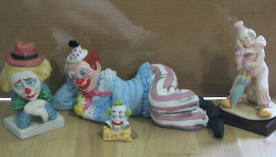 Great Collection of Clown Figurines LOT (4) items