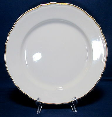 """Homer Laughlin Best China 9 1/2"""" Luncheon Plate Scalloped Rim Gold Trim"""