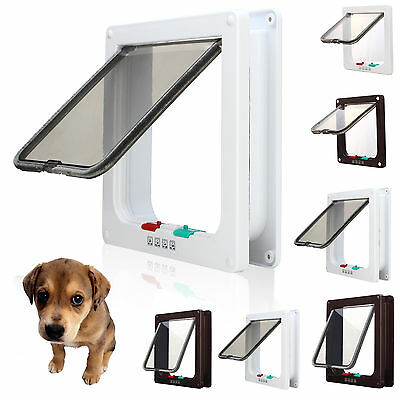White/Brown Frame 4Way Locking Lockable Puppy Small Pet Cat Dog Flap Door +Liner