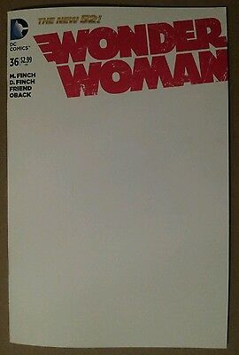 Wonder Woman #36 Blank Variant Sketch Cover Nycc Sdcc Authentix  Nm Free Ship