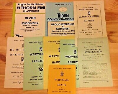 County Championship Rugby Programmes 1948 - 2006
