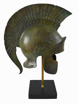 Bronze Attic Roman Great Helmet marble based stand artifact