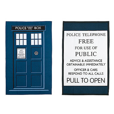Officially Licensed Doctor Who TARDIS Tea Towels  **Brand New**
