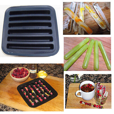 Ice Cube Tray Sticks Black Silicone Cocktail Drink Decoration Flexible Easy