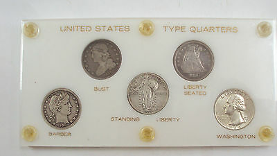 Coinhunters - Quarter Type Set, 5 coins, VG-AU, 90% Silver, Capital holder