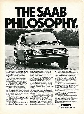 1976 SAAB It's What A Car Should Be Philosophy Print Ad.