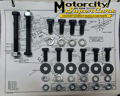 64-77 442 CUTLAS W-30 W-31 MOTOR MOUNT TO FRAME PAD BOLTS NUTS WASHERS SET 36 pc