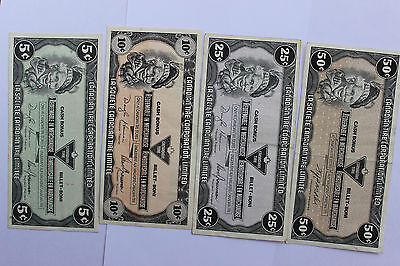 Canadian Tire money four banknotes collection: 5c, 10c, 25c, 50c, Canada
