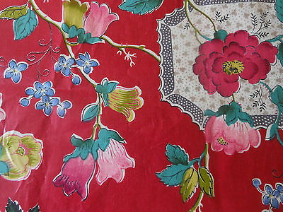 Antique Vintage Berry Red Jade Green Yellow Pink Floral Chintz Fabric ~ stunning