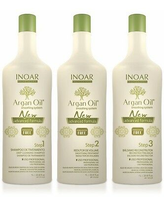 Inoar Argan Oil Brazilian Keratin Treatment Blow Dry Hair Straightening 3 Litre