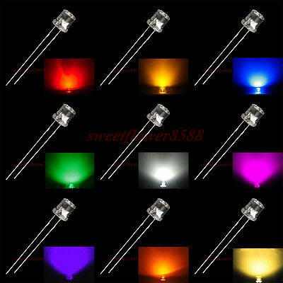 5mm Flat top LED multicolor water clear super bright led light lamp bulb New