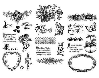 Graphic 45 SWEET SENTIMENTS Cling Stamp 1-2-3 Kit 24p Spring Mixed Media