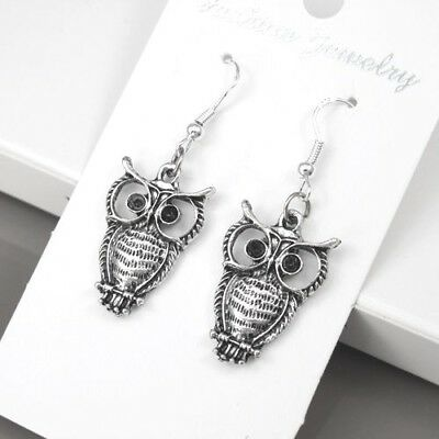 925 Sterling Silver Hooks Vintage Silver Dangle Gothic Wizard Of Owl Earrings