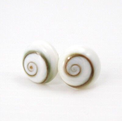 925 Sterling Silver Round 10mm Cream White Spiral Shiva Eye Shell Stud Earrings