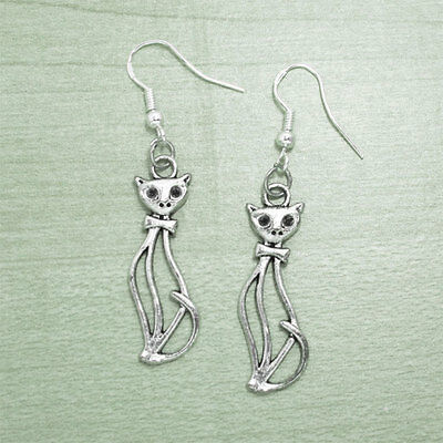 925 Sterling Silver Hooks Vintage Silver Alloy Gothic Kitty Pet Cat Earrings