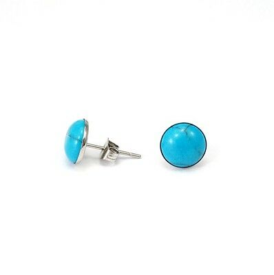 8mm Round Baby Blue Turquoise Stud Earrings Silver Stainless Steel Base NEW