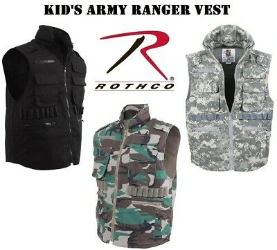 ARMY MARINE NAVY AIR FORCE Camouflage Kids Military Ranger Vest With Hood 8755