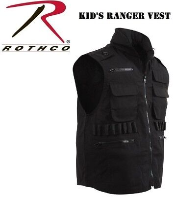 ARMY MARINES NAVY AIRFORCE BLACK Kids Military Ranger Vest With Hood 8557