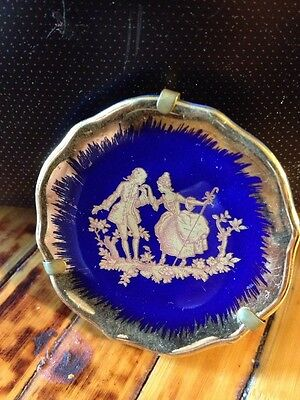 ANTIQUE VINTAGE SMALL FRENCH LIMOGES DECORATIVE PLATE COBALT BLUE The  Proposal