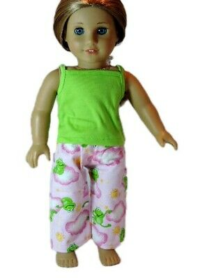 """Doll Clothes 18"""" Pajamas Lime Green Frog Cloud Fits American Girl Dolls"""