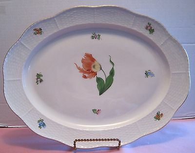 """Herend """"KY or Kitty Pattern"""" White Platter, 8-1/4""""X10-1/8"""", H.P, 24K, Tulip"""