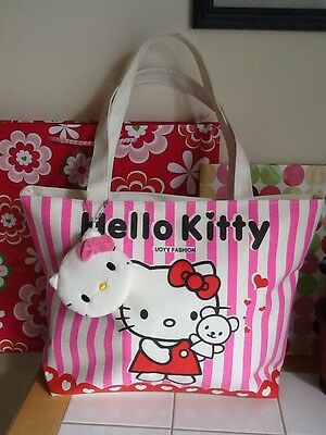 NEW Hello Kitty Shopping Bag Tote with HK Key Chain Purse. Ships From US!!!!