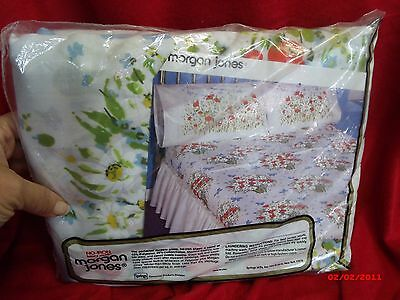 VINTAGE MORGAN JONES LUXURY MUSLIN TWIN FITTED SHEET BONNIE BOUQUET