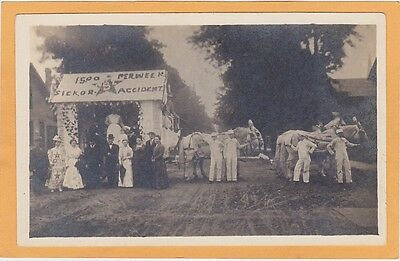 Real Photo Postcard RPPC  Float Workers' Insurance $15 Per Week Sick or Accident
