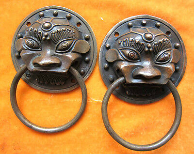 Chinese bronze pair door knockers beast-head ward off evil old 09