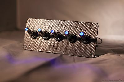 GREY 3D WRAP CARBON FIBER PANEL w/ LED toggle switches - BLUE