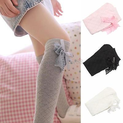 Cute Girls Kids Baby Cotton High Knee Socks Gridding Bow Stockings Wholesale