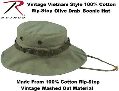 8032321f431 Olive Drab Washed Vintage Military Vietnam Tactical Rip-Stop Boonie Hat 5910
